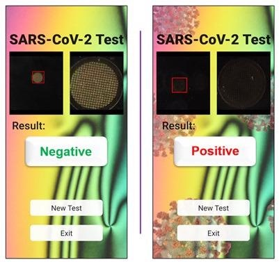 A smartphone screenshot indicating a negative result (left) and positive result (right).