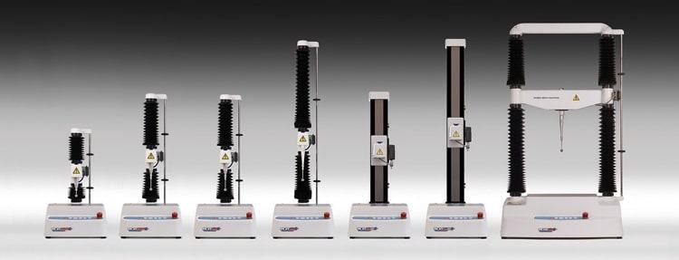 A range of Texture Analysers/Material Testers varying in maximum force capacity.