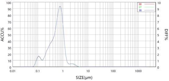 Results of Sample A with no ultrasound in Bettersizer 2600 measurement.