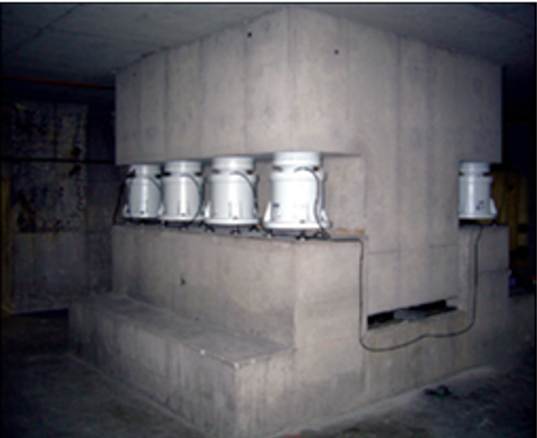 Large, dedicated poured in place concrete plinth.