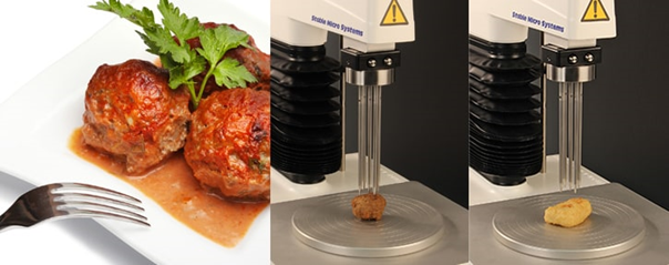 Typical multiple penetration tests (soya ball and Quorn nugget) on the Texture Analyser.