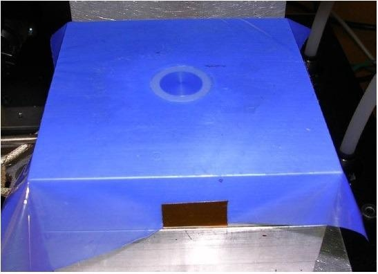 "1"" Single Electrode Sensor in press platen with HTF-621 release film."