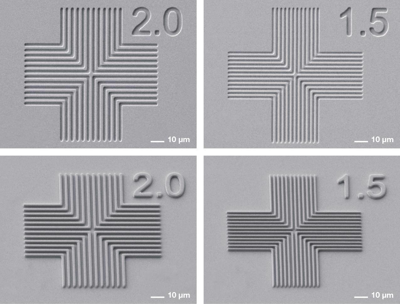 SEM results collage: Line space resolution tests on 1 µm thick positive AZ MIR 701 (top), Line space resolution tests on 2 µm thick negative AZ nLOF (bottom)