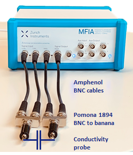 A Scheme showing the setup of MFIA connected to a single-ended conductivity probe.