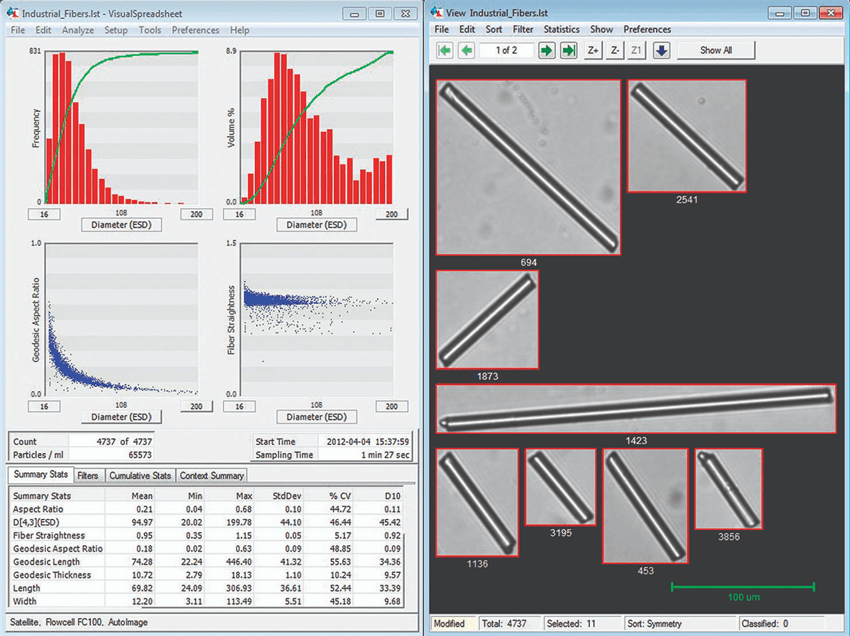 Screenshot of FlowCam analysis of industrial fibers.