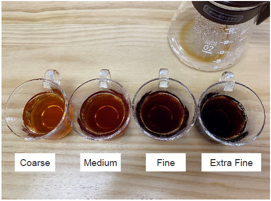 Brewed coffees of four grinds in glass cups.