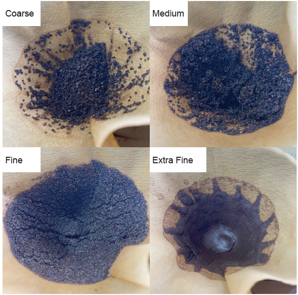 Coffee grounds of four grinds after brewing.