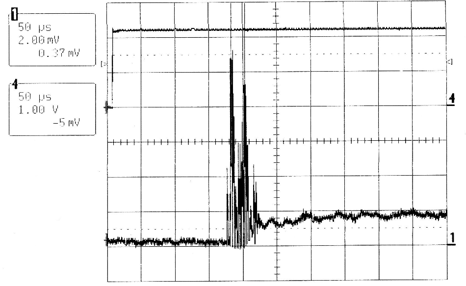 QCW MIR-Pac laser output (lower trace)and drive current waveform (upper trace)corresponding to the first 0.5 ms of Figure 2.