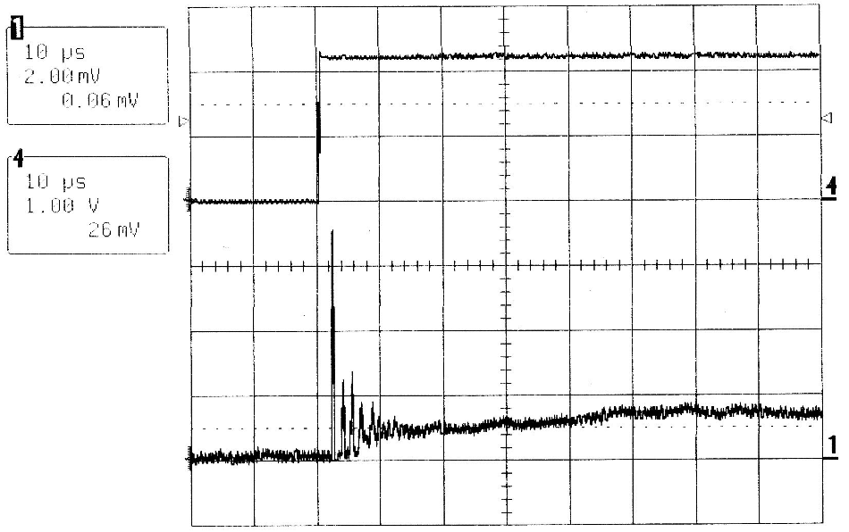 QCW MIR-Pac laser output (lower trace)and drive current waveform (upper trace) for a 2 A to10 A, 2-ms duration current pulse at a 100 Hzrepetition rate.