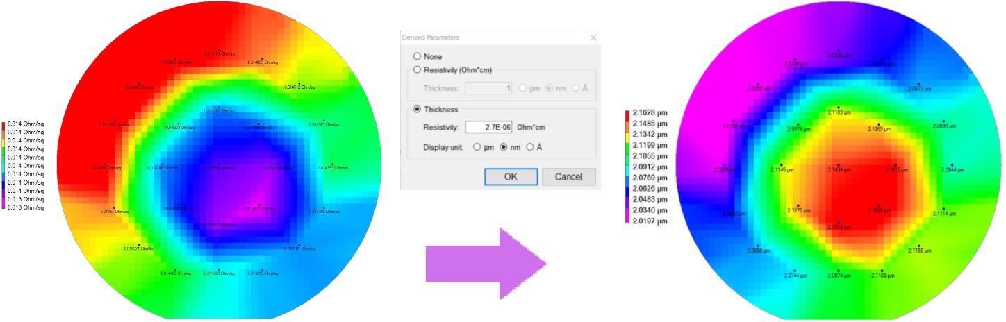 A 2µm thick aluminum layer is mapped for sheet resistance (left). The RsMapper software enables the derivation of film thickness (center) to produce the derived film thickness map (right). The thickness map exhibits an off-center mound, which may be due to an offset in the deposition system. Other possible causes include misalignment of the wafer to the metal target or a slight tilt in the wafer, which will also produce similar patterns.