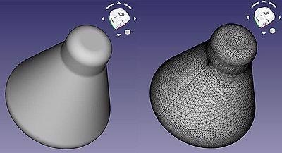 A Solid Part converted to a Fine Surface Mesh for STL export via FreeCAD (an open source CAD package) here using a fine mesh applied with thousands of facets.