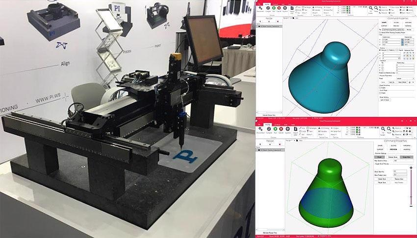 PI A-341 Gantry-based 3D Print Development Platform running ACS SPC for material dispense demonstration and development. Shown here as well are STL files imported to SPC direct from Meshed Solid Part-sliced with user-defined infill.
