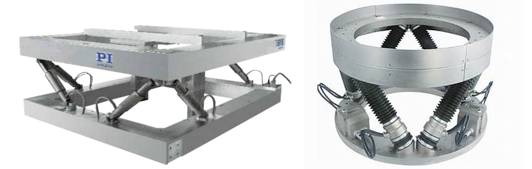 Examples of custom hexapods - rectangular hexapod design and circular hexapod design. For either case, 6 actuators, located between a bottom and top frame, control the three linear (X, Y, Z) and rotary positions (TX, TY, TZ) of the top platform precisely, based on input from the hexapod motion controller.