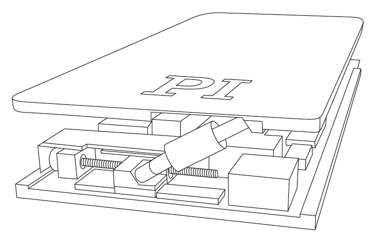 Basic design of a low profile, 6-axis hexapod for patient couches.