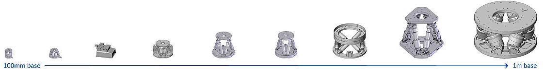 Hexapod 6-axis motion systems come in different sizes for application from alignment of tiny silicon photonics components to positioning heavy mirrors in astronomical telescopes.