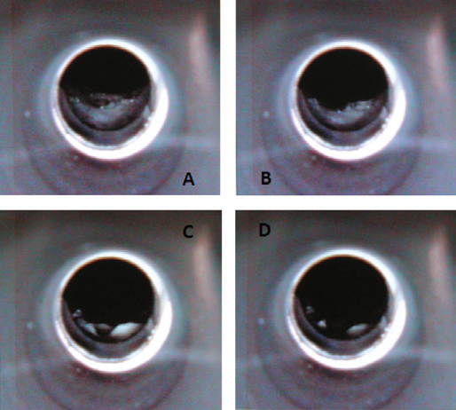 The drying steps of a complex undigested milk sample in the graphite tube, as seen using the TubeView color furnace camera.