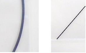 Appearance of Sample Materials (Left: (1)Nylon 6 + Short Fiber CFRP, Right: (2)Nylon 6 + Continuous Fiber CFRP).