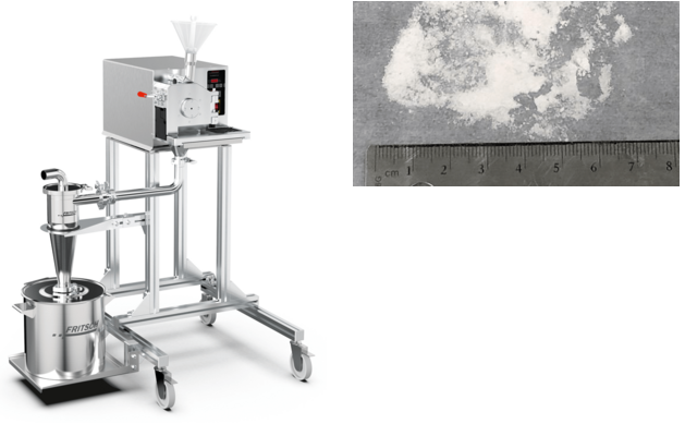 Left side shows the PULVERISETTE 19 cutting mill system, shown with high-performance Cyclone separator mounted to 60 L collection vessel. Right side shows image CBD isolate homogenized into the low-mid micron range using the Universal Cutting Mill PULVERISETTE 19.