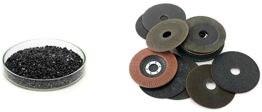 (left) loose black silicon carbide abrasive grits; (right) bonded abrasive products.
