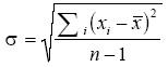 First Standard Deviation Equation