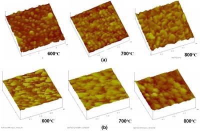 "AFM micrographs of the ""as coated"" BT thin films sintered at 600, 700 and 800°C of a)BaTiO3/ITO-2min/Si(111) and b) BaTiO3/ITO-1min/Si (111)."
