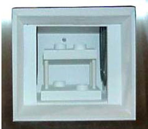 Example kiln furniture configuration in the hearth of the Zircar Zirconia Hotspot 110 Laboratory furnace.