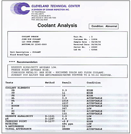 Sample coolant analysis report