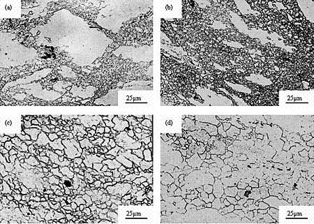 AZONANO - The AZO Journal of Materials Online - Micrographs of AZ61 alloy with strain rate 1×10-2s-1. (a) 523 K, (b) 573 K, (c) 623 K, (d) 673 K.