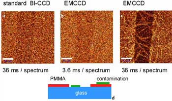 a-c: Confocal Raman images of a 7.1 nm thin PMMA layer on glass obtained in the CH2 stretching band around 3000 / cm. Scale bar: 10 μm. Fig. 1d: Schematic of the sample 30 x 50 μm, 100 x 80 pixel = 8000 spectra, 110 ms/spectrum.