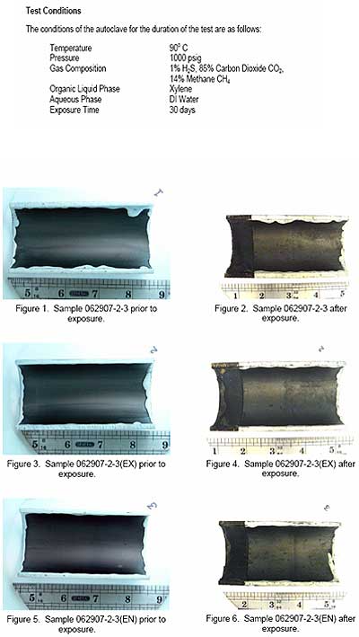 Coating before and after sour autoclave test and details of test conditions