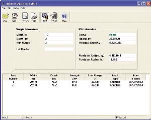 Example of a result screen from Tinius Olsen