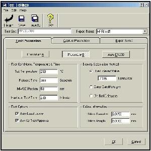 Screenshot of equipment set-up screen from EP600 software