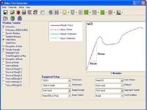 Screenshot from test set-up section of QMat software showing available results selection.