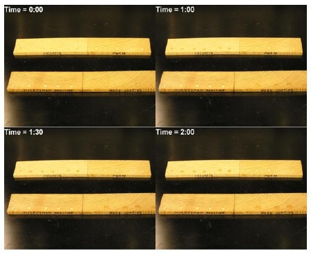 Two minute time sequence showing water beading of uncoated, coated and coated w/wax.