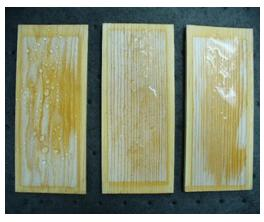 Degrees of waterbead in Xenon Arc weathered wood with and without wax emulsion.