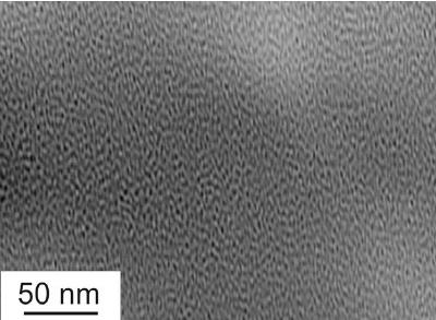 TEM image of bulk metallic Fe50Cr15Mo14C15B6 glass.