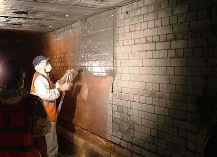 EMISSHIELD® being sprayed in a tunnel kiln