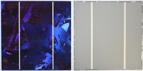 Front side, left (sunnyside side or emitter) and back side of a polycrystalline silicon solar cell.