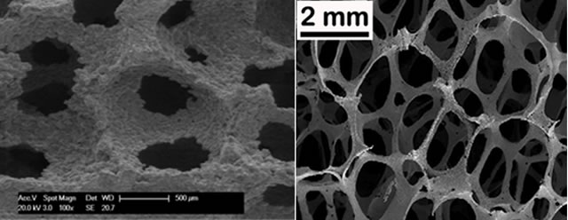 Examples of porous (open cell) metal structures made by replication processes using (left) NaCl beads as porogens in Al and (right) a polymer foam template coated in stainless steel