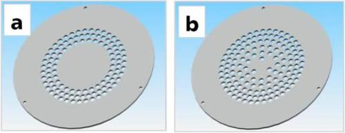 Two gas transmission plates. (a) Transmission plate 1 is optimised to deposit SiO2. (b) Transmission plate 2 is optimised to deposit SiNx