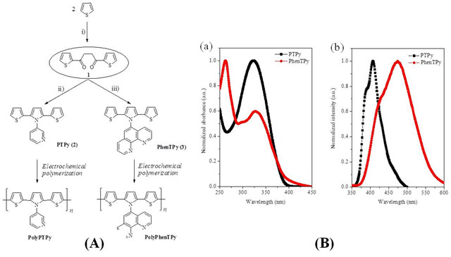 (A) The synthetic route to PTPy and PhenTPy. (B-a) UV-vis absorption and (B-b) photoluminescence (PL) spectra of PTPy and PhenTPy in dichloromethane solution.