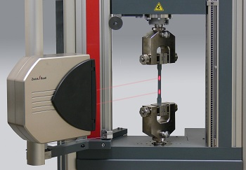 Zwick's laserXtens noncontact extensometer operating without specimen marks.