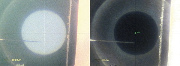CCD images of the etch crater at the end of the profile, taken using the K-Alpha Reflex Optics and the co-axial lighting with the side lighting (left image) and just the side lighting (right).