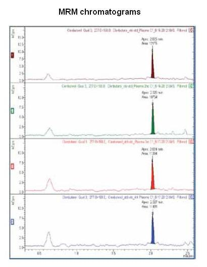 Representative MRM chromatograms of the 5 ppt Clenbuterol in equine plasma (150 fg on-column) from the first to fourth calibrations, illustrating consistent peak areas, and thus response factors.
