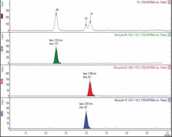 Chromatogram of 0.5 ppb mixed standard of MCs
