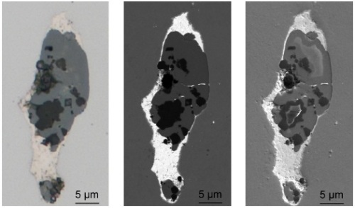 """Brightfield image in LM (left) as well as BSE (center) and SE (right) images in SEM of the conspicuous mixed inclusion shown in Fig. 1. Images were acquired using the CLEM technique with the """"Shuttle & Find"""" module."""