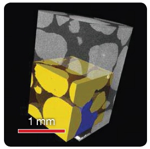 Contrast for Fluid Imaging Sand (yellow), Brine (blue), and Air (clear, brown) imaged in a 12.5 mm diameter aluminum tube