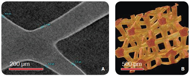Ni-plated foam imaged using the MicroXCT (VersaXRM family) with 1.6 µm voxel size. (A) The 2D virtual slice shows the thin Ni plating of about 7 µm thickness. (B) The 3D rendering of the two phases of the foam.