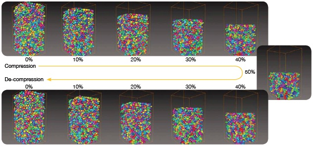 A MicroXCT series captured 3D images of an in situ loading-unloading experiment. The results showed that the compression curve was not retraced during the decompression, showing that the foam cells did not exhibit 100% elastic properties.