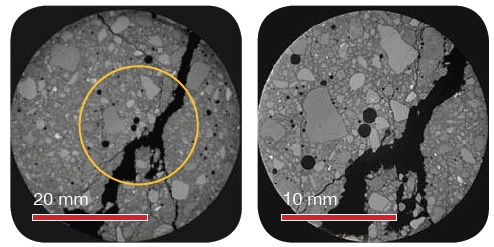 Various images showing 20 µm voxel resolution (40mm FOV) on the left and 10 µm voxel size (20 mm FOV) on the right. Both scans were taken on the same, intact, 50 mm sample